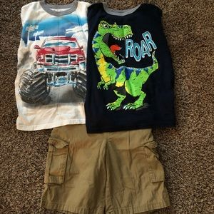 2 shirts and a pair of shorts